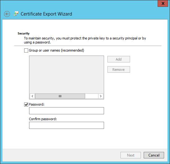 InetMgr-CertificateExportPassword