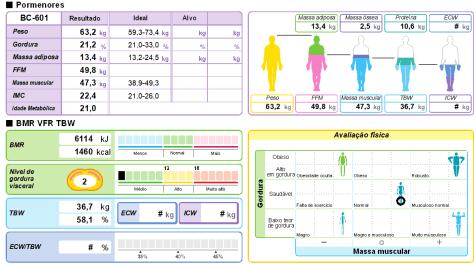 Resultados da análise total e segumentar da bioimpedância corporal