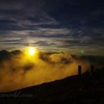 蝶ヶ岳から見る夕焼け