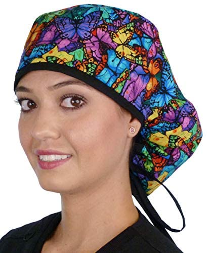 Massive Hair Ladies's Medical Scrub Caps Surgical Caps – Butterfly Burst with Black Ties