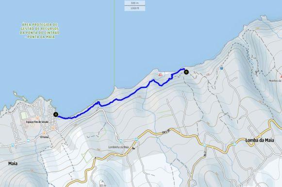 Küstenwanderung Sao Miguel Karte