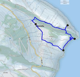 Wanderung bei Ribeirinha, Faial, Karte