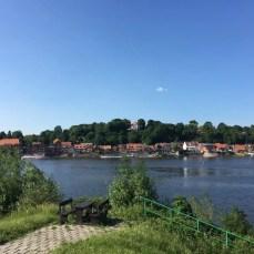 Blick auf Lauenburg vom Südufer der Elbe aus