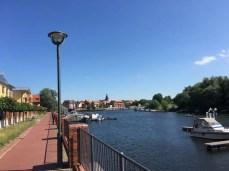 Im Hafen in Havelberg mit Blick zur Altstadt
