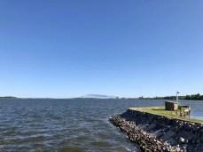 Im Hafen von Parow nördlich von Stralsund mit Blick nach Stralsund
