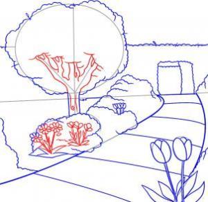 تعليم رسم حديقة