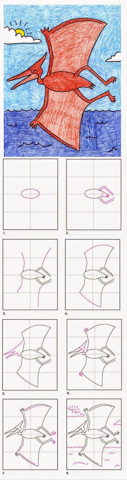 كيفية رسم ديناصور طائر