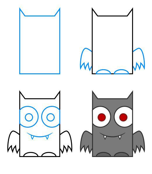 رسم خفاش بطريقه سهلة وبسيطة للأطفال