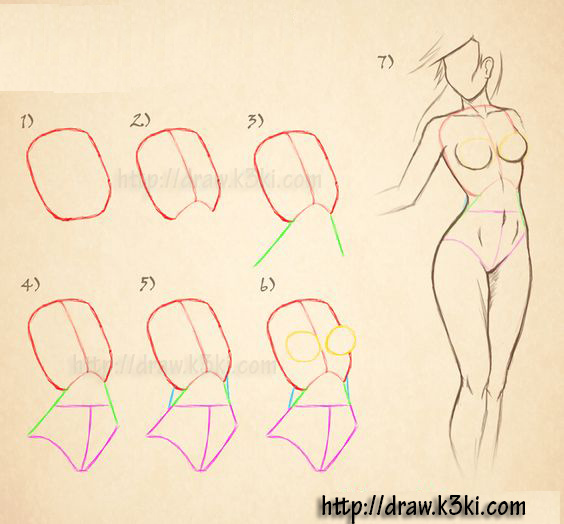 درس تعليم رسم جسد فتاة ببساطة