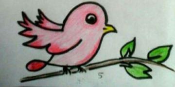 رسم عصفور لطفل صغير