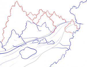 رسم نهر بالخطوات