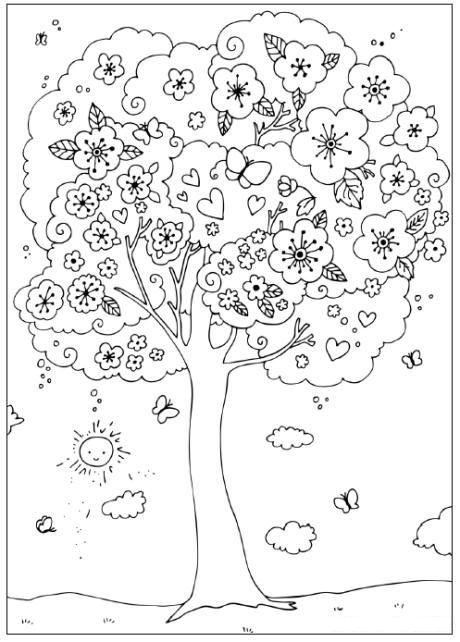 تلوين شجرة في فصل الربيع