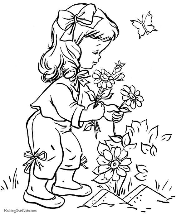 تلوين فتاة تقطف أزهار