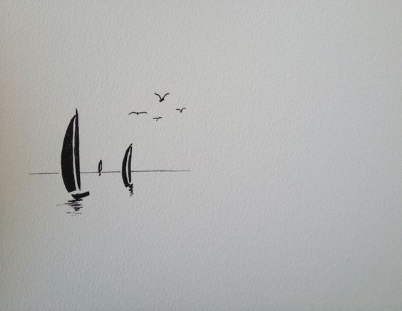 خربشة قوارب في البحر