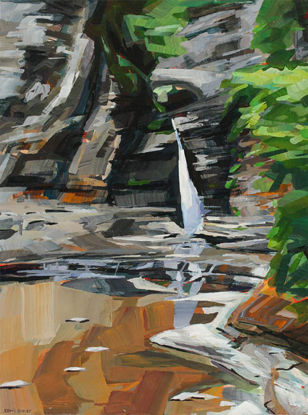 An acrylic painting of a waterfall at Watkins Glen