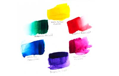 Vibrant acrylic paint color wheel