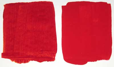 A comparison of mixed Red with Cadmium Red