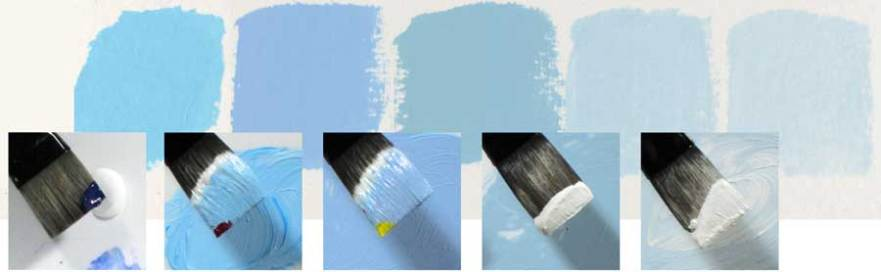 Mixing a variety of sky blue colors from Phthalo Blue