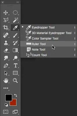 screenshot of photoshop ruler tool