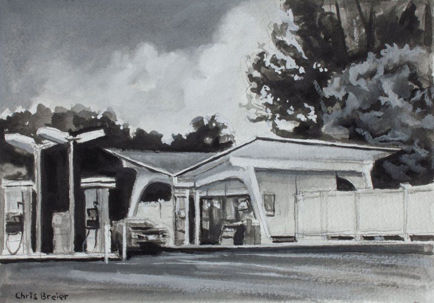 An example of a black and white gouache painting.