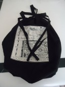 very useful black cotton drawstring bag with map of the world linen panel