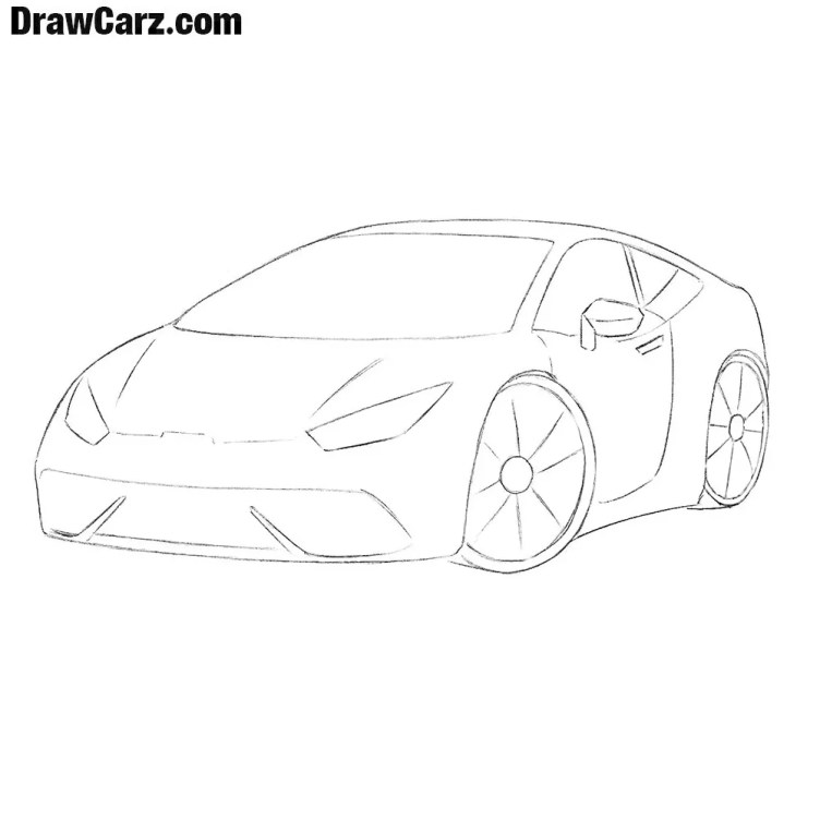 How to Draw a Sports Car for Beginners | DrawCarz