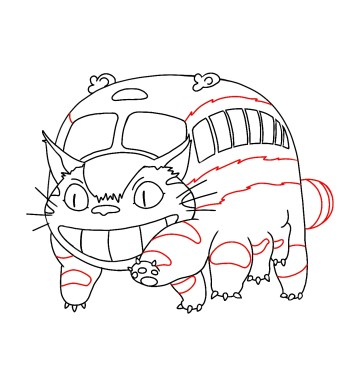 How To Draw Catbus From My Neighbor Totoro 12