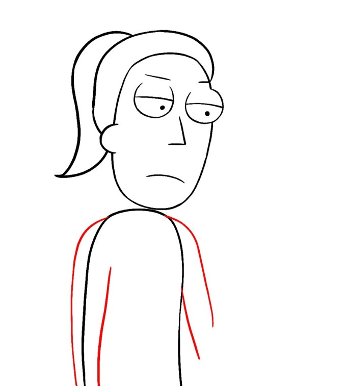 How To Draw Summer Rick And Morty Step 7
