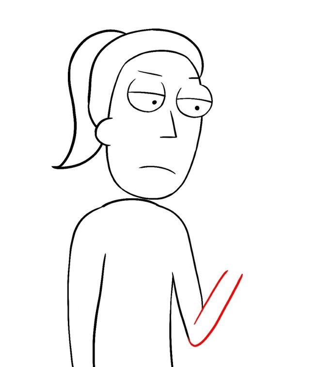 How To Draw Summer Rick And Morty Step 8
