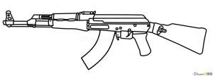 ak 47 draw guns drawing tattoo pistols drawdoo tutorials gun ak47 pistol step hunting stencil tatoo webmaster sparad fran