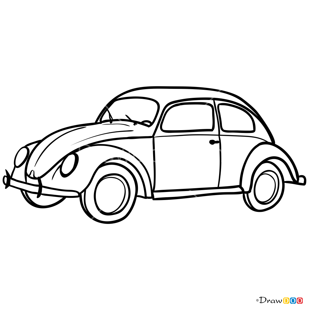How to Draw Volkswagen Beetle 1960-1969, Retro Cars