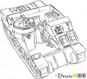 How to Draw Assault Gun, M7 HMC Priest, Tanks