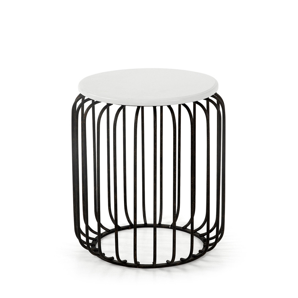 Table D'appoint Design Métal Noir Et Blanc Scott