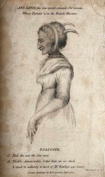 Thomas Woolnoth, Ann Davis, the Cow-poxed, cornuted Old Woman Whose Potrait is in the British Museum, (1806), Courtesy of Wellcome Collection