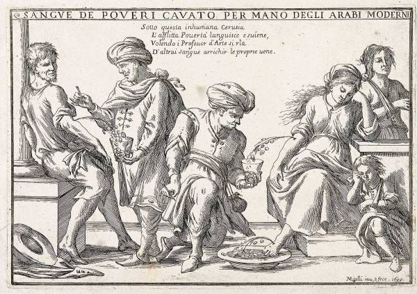 Fig. 8: Sangue de poveri cavato per mano degli Arabi moderni (1699)