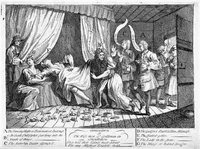 Fig. 10: William Hogarth, Cunicularii or the wise men of Godliman in consultation (1726)