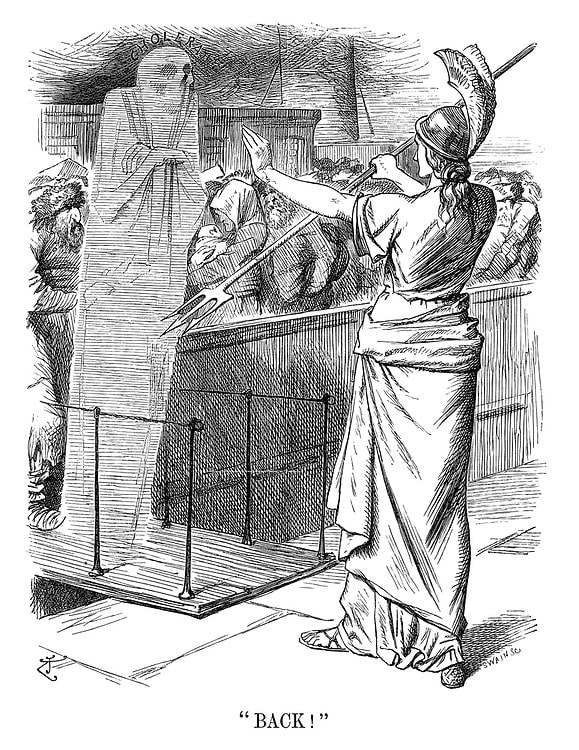"John Tenniel, ""Back!"", (1892), Punch Magazine"