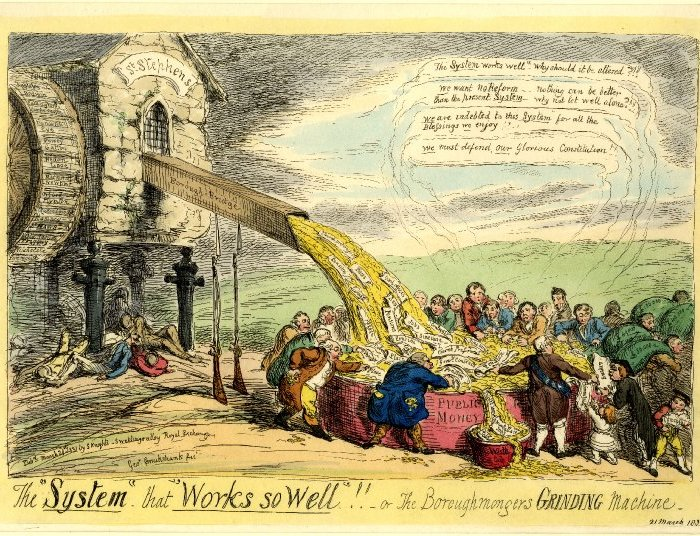 A Cruikshank satirical print depicting reform opponents as greedily profitting from the old, decaying mill of the House of Commons. Underneath the stone pillars lie the dead and dying bodies of the poor who suffer as result of an unfair system. A rash of riots agitated by the arrival of cholera and the relevant neglect of the poor broke out in England in 1832.