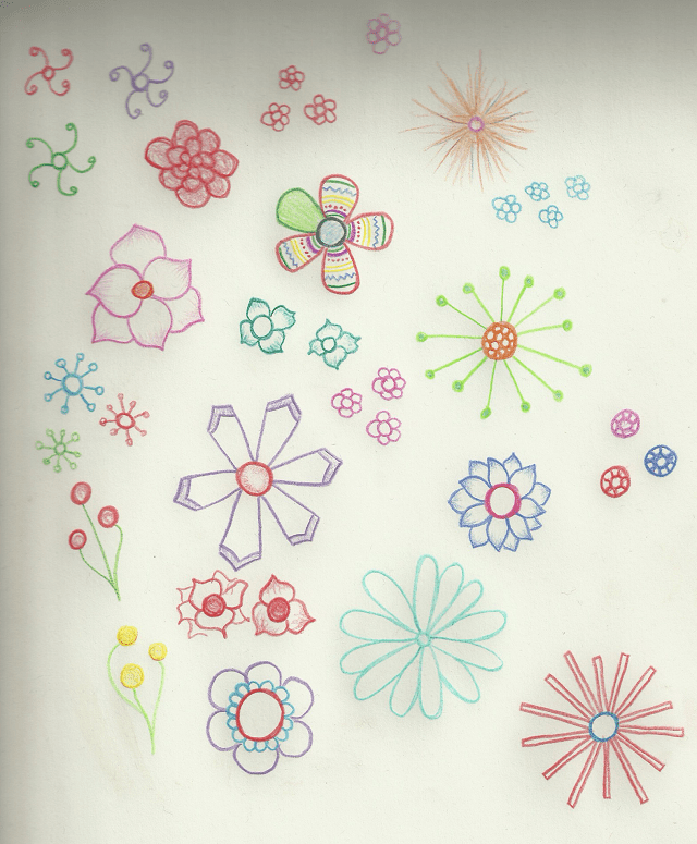a page with a bunch of drawing of flowers on it