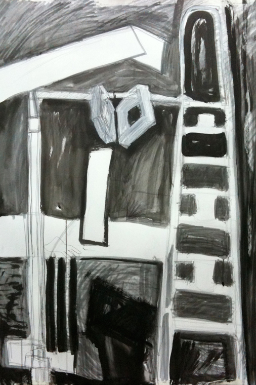 Drawing from studio installation set-up, graphite and ink