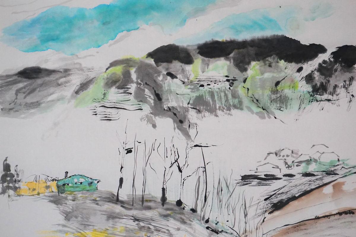 Japanese suibokuga painting by Margaret Kerr & Blair Thomson