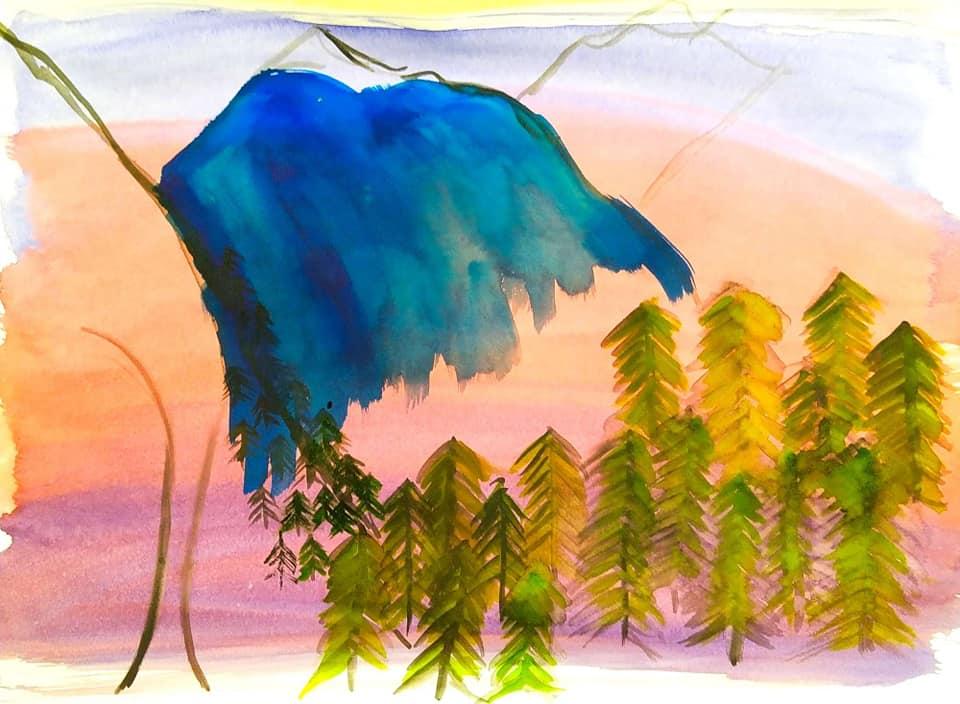 Atmospheric tree painting night