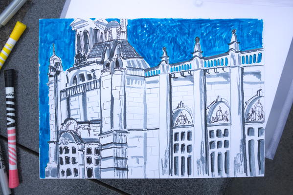 Drawing quirky rooftops, arches and gulls at Kelvingrove
