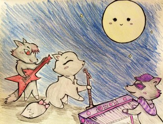 wolves cute cartoon draw drawing animals moon something dogs awesome they circles instruments notice oh got ve clothing