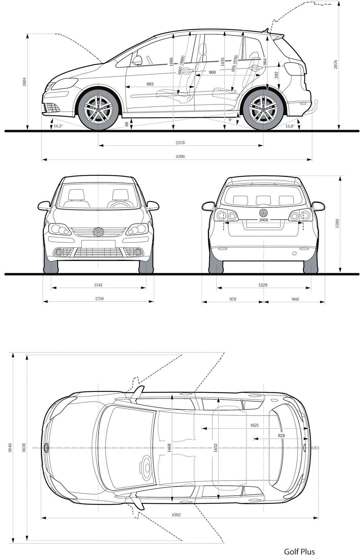 Dimension Golf Plus. dossier volkswagen golf plus le petit