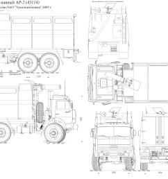 kamaz fire truck blueprint [ 4675 x 3043 Pixel ]