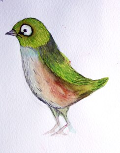 An idea for childrens' book character, watercolour and gouache