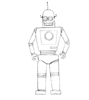 robot draw robots drawing easy cartoon drawings sketch step simple line drawingforall children shapes