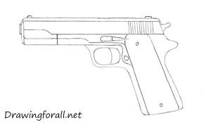 gun draw drawing beginners simple sketch pencil lines steps