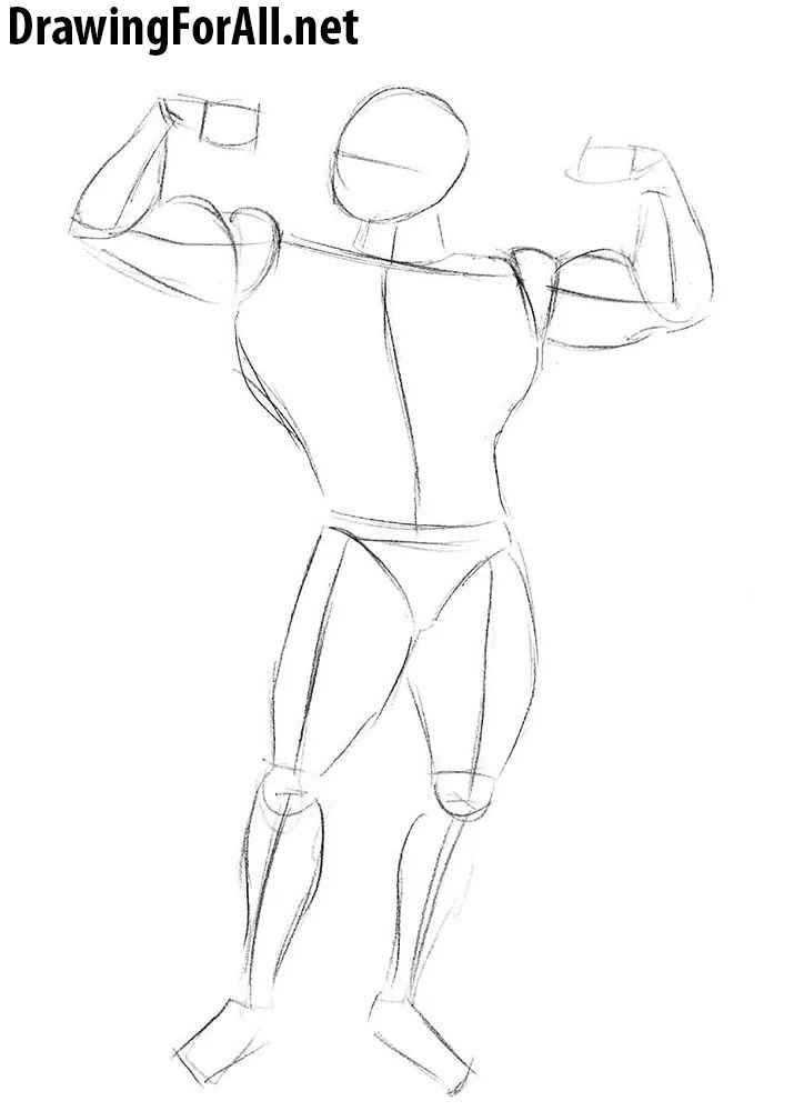 Buff Guy Drawing : drawing, Bodybuilder, Beginners, Drawingforall.net